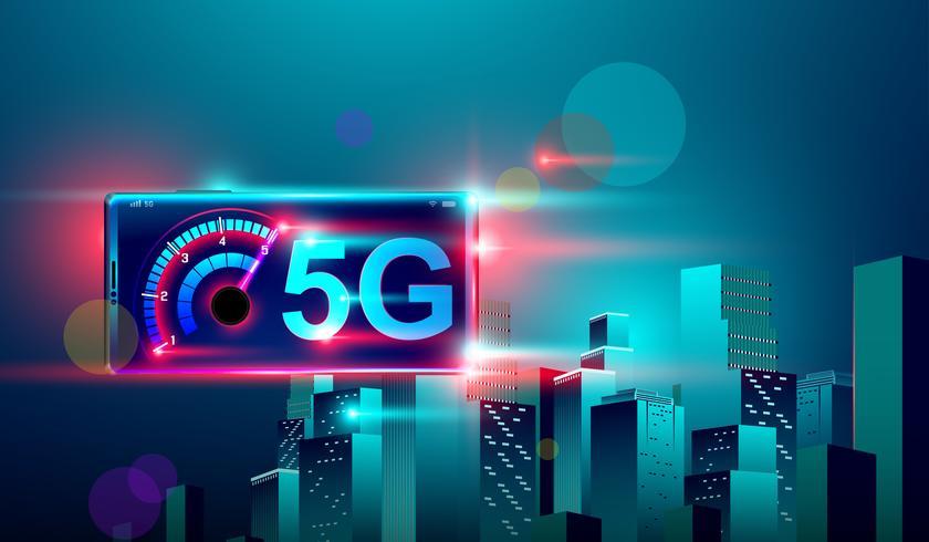 Internet de communication réseau haute vitesse 5G sur le vol réaliste 3d smartphone isométrique traverser la ville intelligente de nuit. vecteur