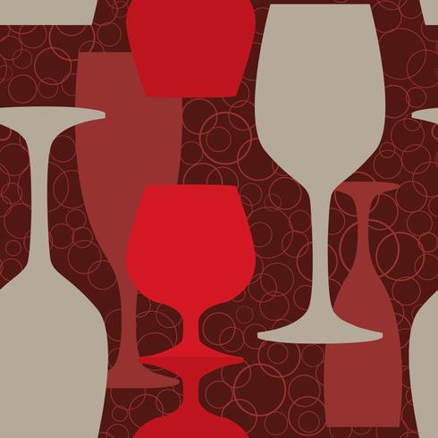 Motif de verre à vin. Fond transparent de verre à vin. Boisson au pub vecteur