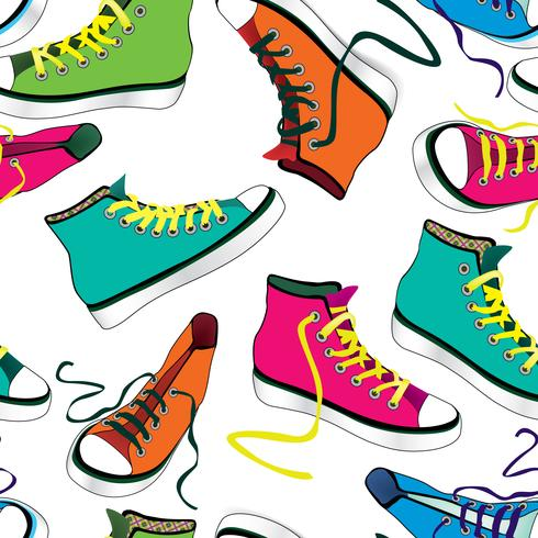 Fond de tuile de baskets. Modèle sans couture de chaussures de sport différent vecteur