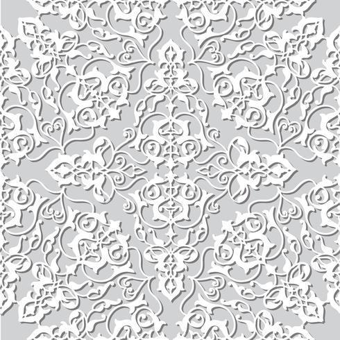 Ornement de ligne tourbillon floral arabe. Modèle sans couture de fleur orientale vecteur