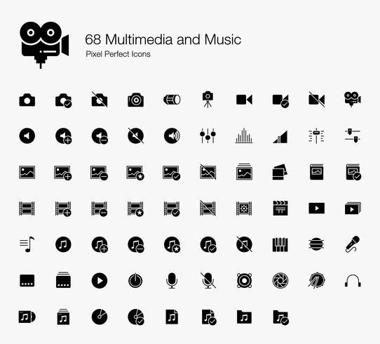 68 Multimédia et musique Pixel Perfect Icons (Style rempli). vecteur