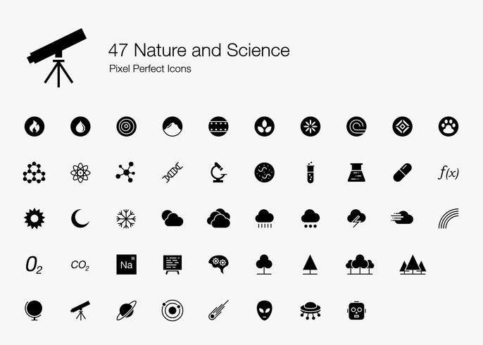 47 Nature and Science Pixel Perfect Icons (Style rempli). vecteur