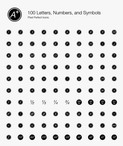 100 lettres, chiffres et symboles Pixel Perfect Icons (Style rempli). vecteur