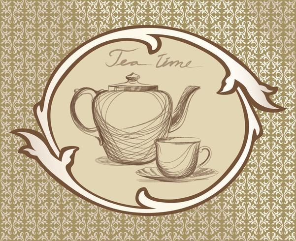 Tasse à thé, pot, carte rétro bouilloire. Ensemble d'étiquettes vintage de l'heure du thé. Boissons chaudes vecteur