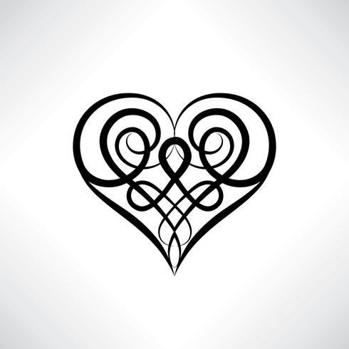 Symbole du coeur. Signe de l'amour Sauvegarder l'amulette de date. Ancien style celtique vecteur