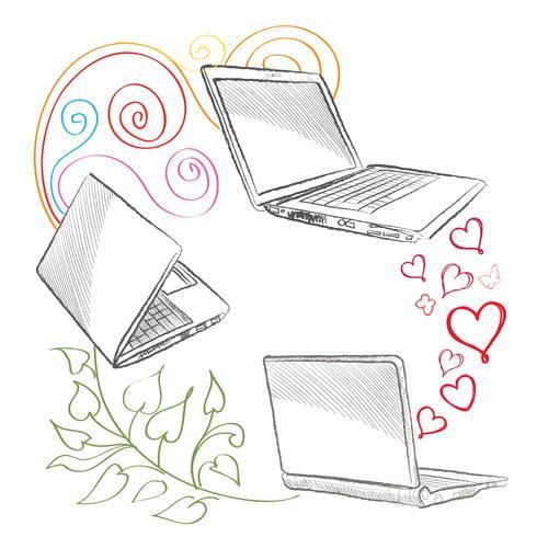 Laptop set Concept de connexion d'ordinateurs. Signe de collaboration sociale vecteur