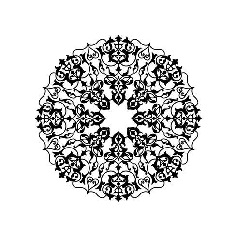 Motif floral rond ornemental. Ornement de fleurs orientales Mandala vecteur