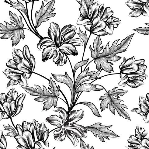 Fond floral. Motif de fleurs. S'épanouir texture transparente vecteur