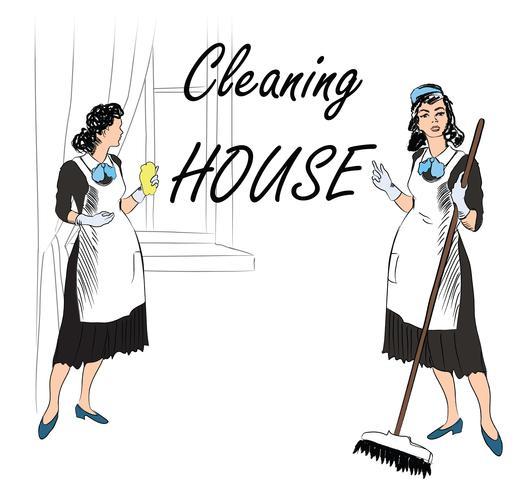 Service de nettoyage. Femmes, salle de nettoyage. service de femme de chambre vecteur