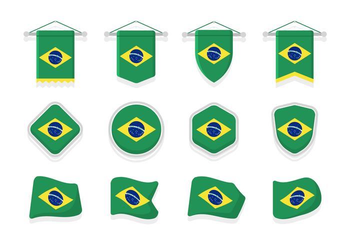 Clipart de drapeaux du Brésil vecteur