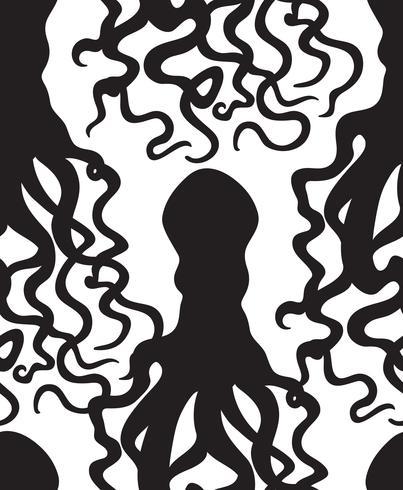 Modèle sans couture de fruits de mer Octopus. Fantôme d'ornement d'halloween. vecteur