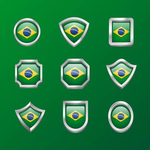 drapeau de l'emblème du Brésil vecteur