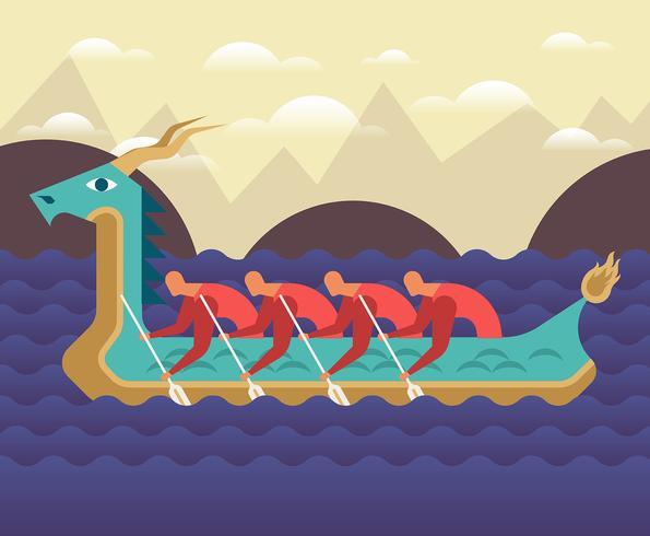 Festival de bateaux-dragons vecteur