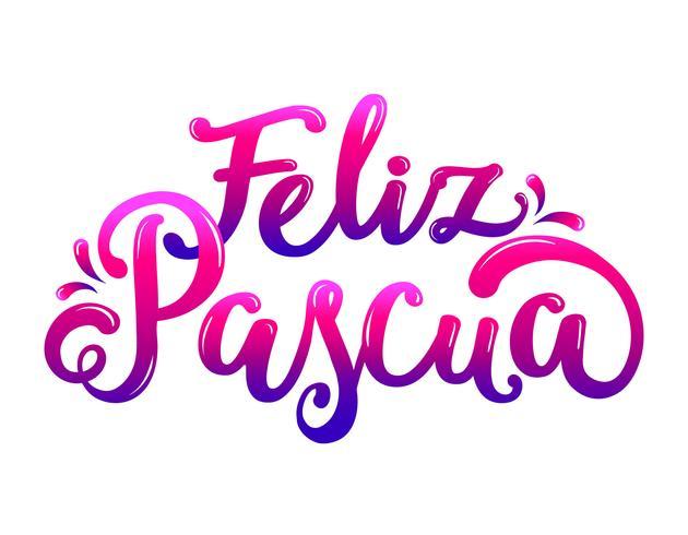 Typographie Feliz Pascua colorée vecteur