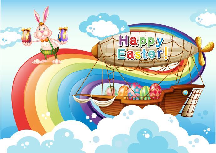 Un joyeux modèle de Pâques avec des oeufs et un lapin près de l'arc-en-ciel vecteur