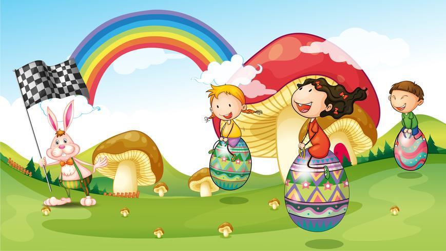 Un lapin et des enfants avec des oeufs de Pâques vecteur