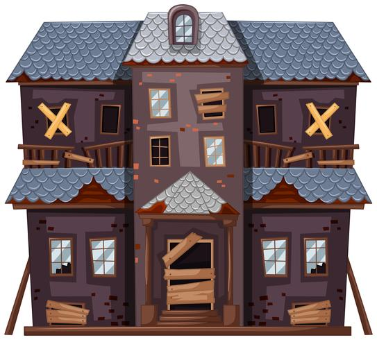 Vieille maison de couleur grise vecteur