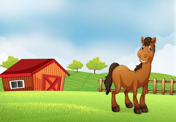 Un cheval à la ferme vecteur