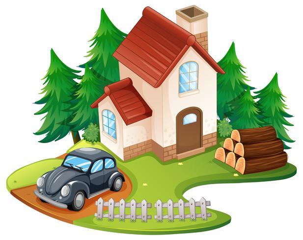 Maison individuelle avec voiture noire garée devant vecteur