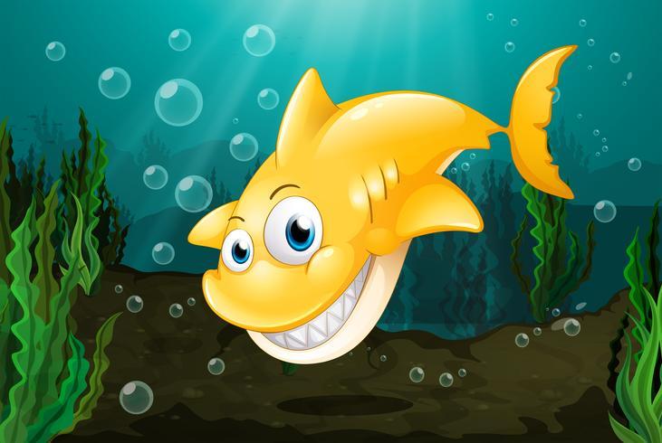 Un grand requin jaune vecteur