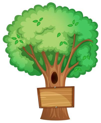 Panneau en bois sur l'arbre vecteur