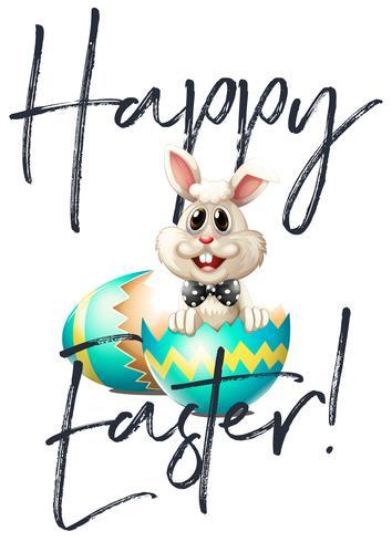 Joyeuses Pâques carte avec lapin et oeuf vecteur