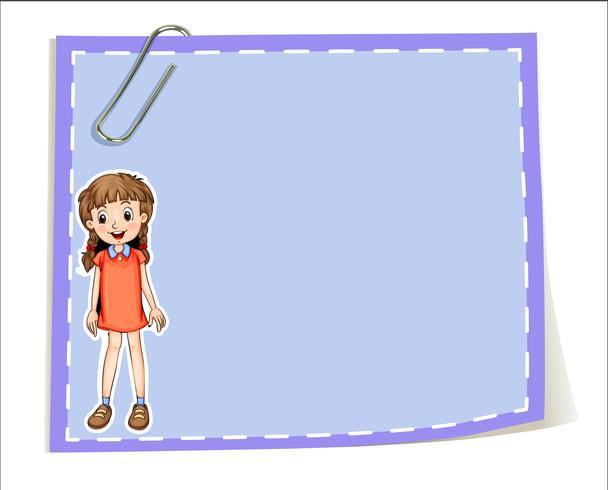 Un gabarit vide avec une jeune fille souriante vecteur