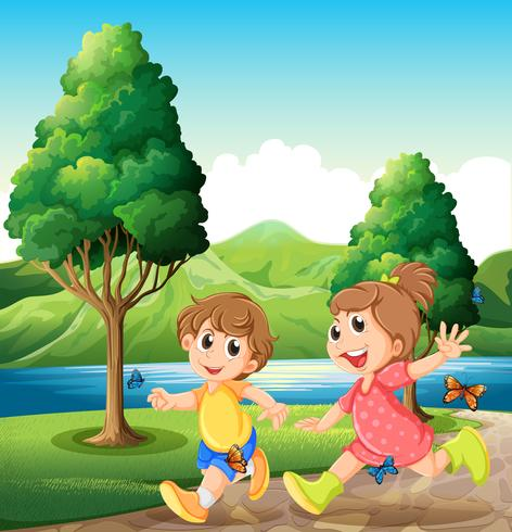 Enfants heureux et énergiques jouant près de la rivière vecteur