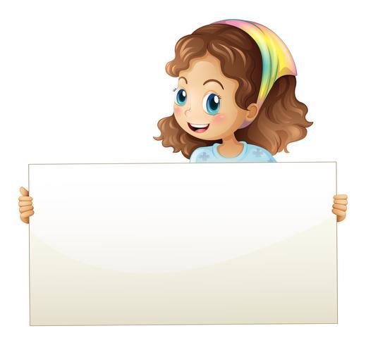Une fille tenant une bannière vecteur