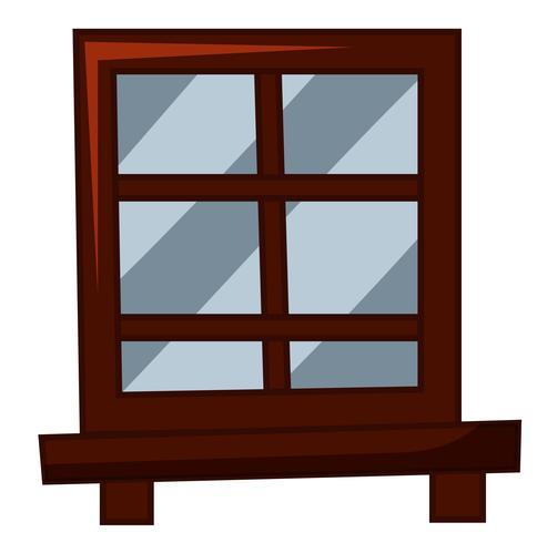 Fenêtre avec cadre en bois vecteur