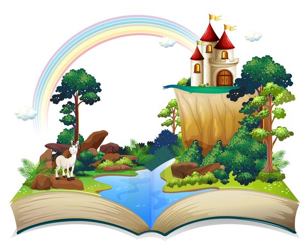 Un livre avec un château à la forêt vecteur