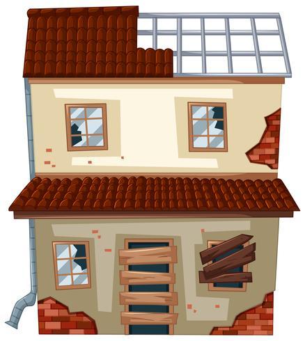 Vieille maison aux fenêtres en ruine vecteur