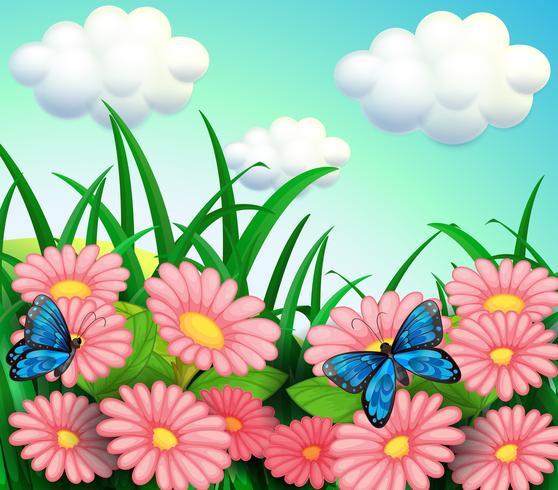Les deux papillons dans le jardin vecteur
