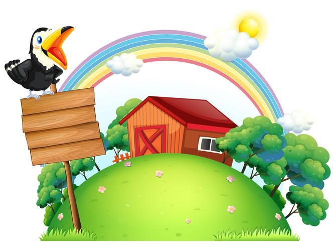Un oiseau au sommet d'une signalisation en bois devant une maison vecteur