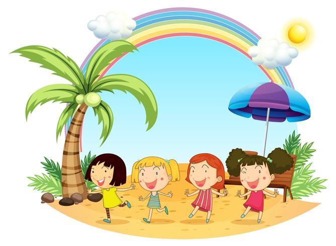 Jeunes femmes à la plage vecteur