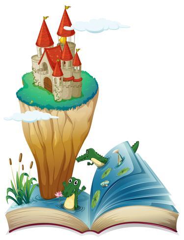 Un livre ouvert avec une image d'un château dans une île vecteur