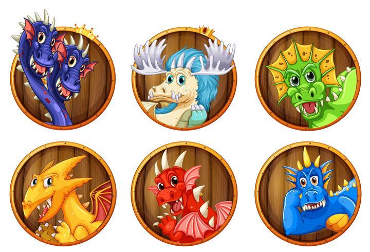 Différents personnages de dragons vecteur