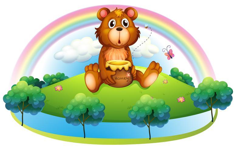Un ours tenant un pot de miel sur la colline vecteur
