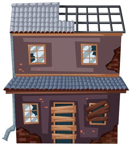 Vieille maison sans toit vecteur