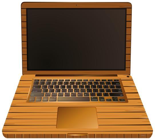 Ordinateur portable avec caisse en bois vecteur