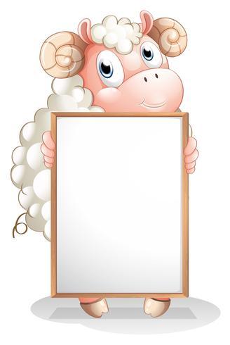 Un mouton tenant un tableau d'affichage vide vecteur