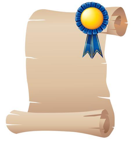 Un papier vide avec un ruban bleu vecteur