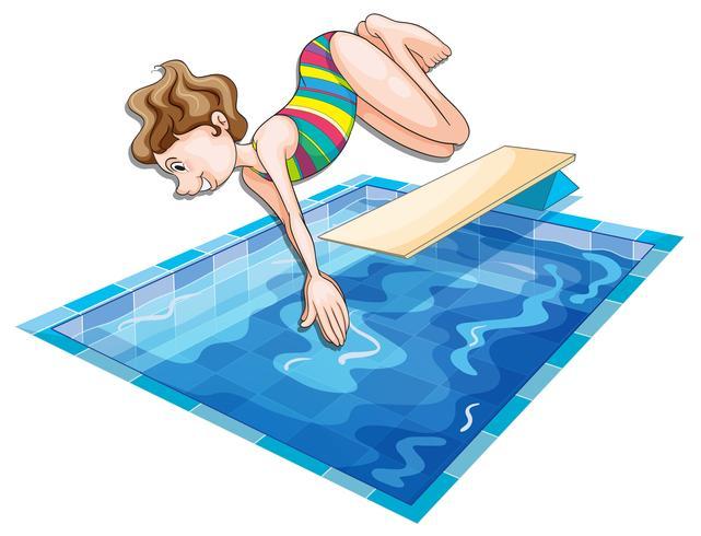 Femme sautant dans la piscine vecteur