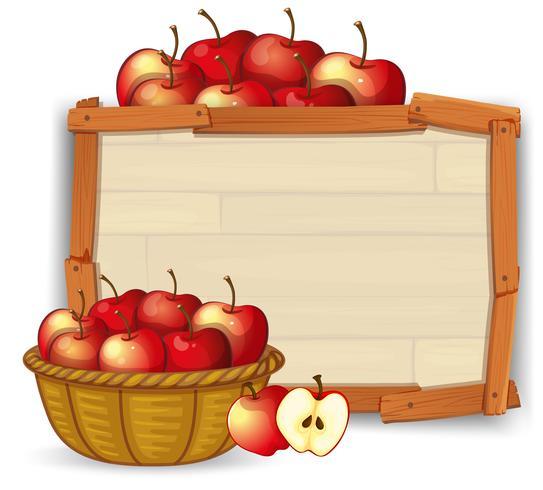 Apple dans le panier sur une bannière en bois vecteur