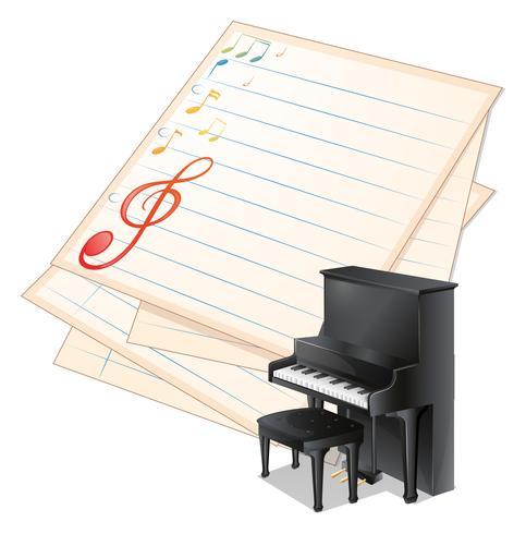 Un papier vide avec des notes de musique à côté d'un piano vecteur