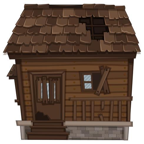 Maison en bois en mauvais état vecteur