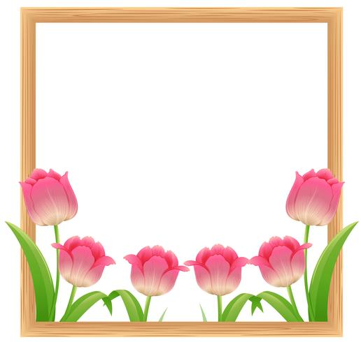 Modele De Cadre Avec Des Fleurs De Tulipes Roses Telecharger Vectoriel Gratuit Clipart Graphique Vecteur Dessins Et Pictogramme Gratuit