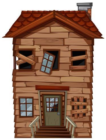 Vieille maison en bois aux fenêtres cassées vecteur