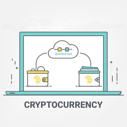 Technologie de réseau blockchain de crypto-monnaie d'argent numérique concept de transfert bitcoin. style d'art au trait mince. vecteur