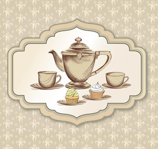 Tasse à thé, carte rétro bouilloire. Fond vintage de l'heure du thé. Boissons chaudes vecteur